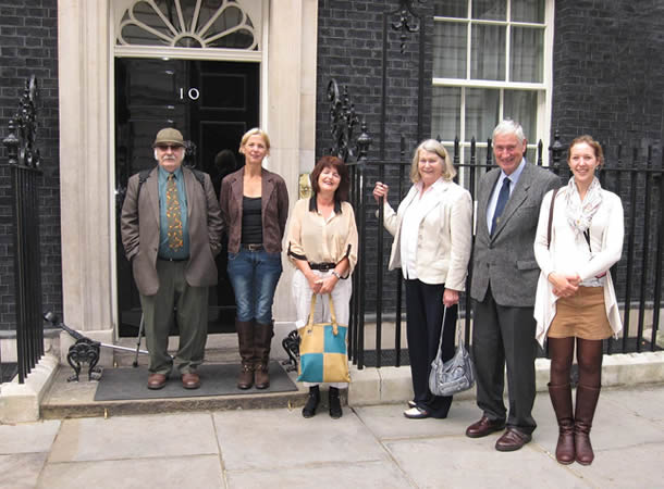 Tony Barnett and supporters at No 10 Downing Street