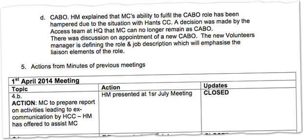 Here are the minutes of the July meeting of the BHS Hampshire Committee which starkly reveals their attitude.