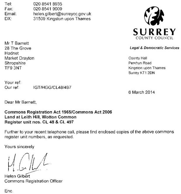 Surrey County Council Letter