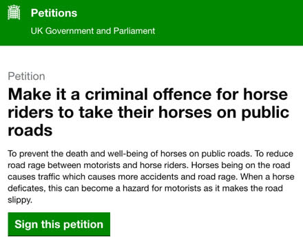 Petition launched to make it a criminal offence for horse riders to take their horses on public roads
