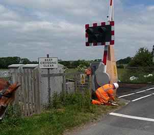 Moya negotiating  the level crossing